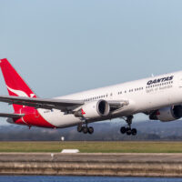 Qantas Boeing 767 airliner taking off from Sydney Airport