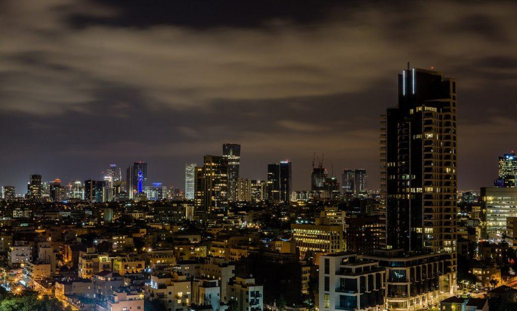 Photograph of Tel Aviv at night (