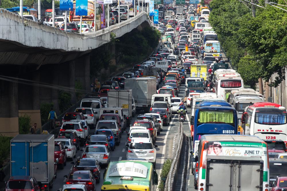 Heavy traffic in EDSA, Philippines