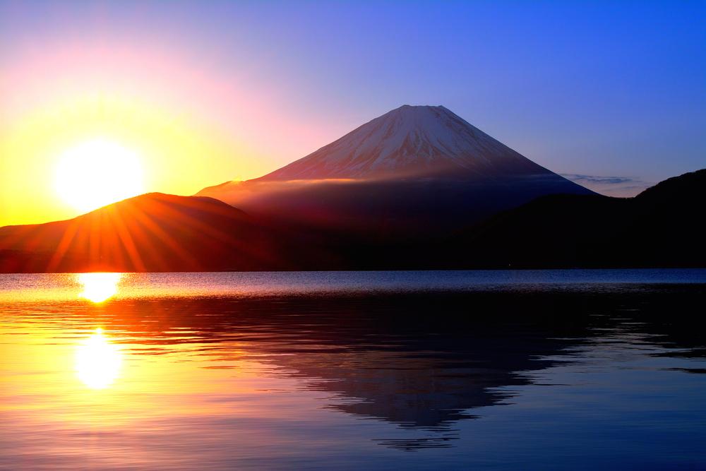 Sunrise and Mt. Fuji from Lake Motosu