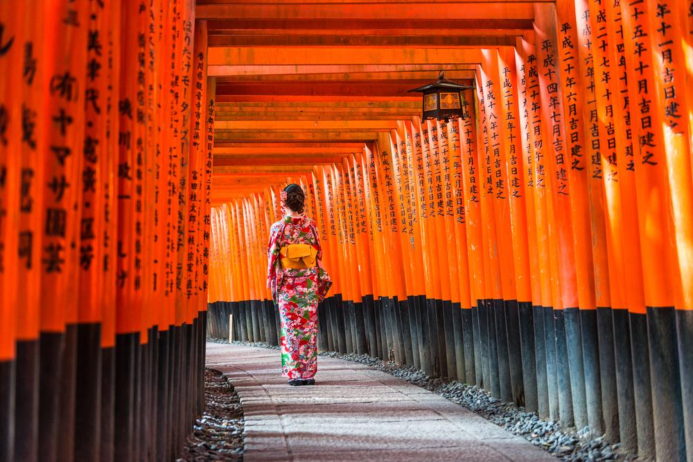 Red Torii gates in Fushimi Inari Shrine, Kyoto, Japan