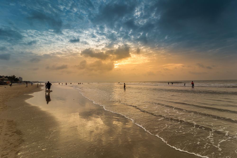 Vung Tau, Cambodia. Beach at sunset