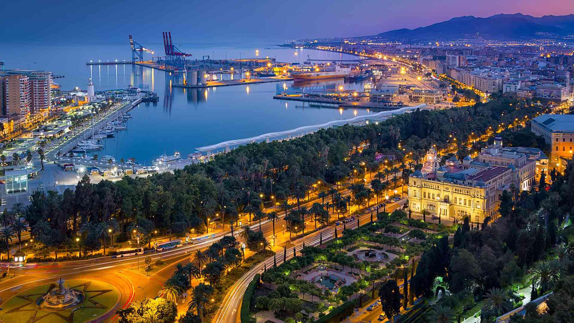 Обои ночь, Malaga city, spain. Города foto 11