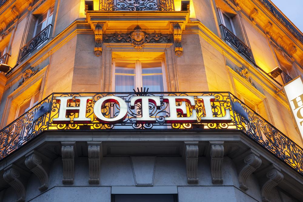 Hotels market - hotel sign