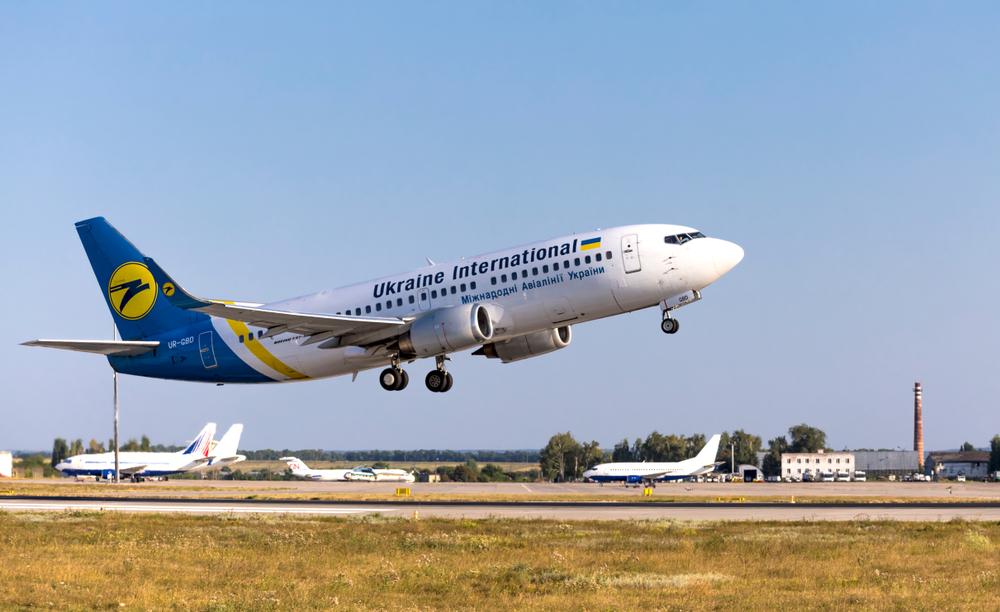 Boeing 737-36Q UR-GBD of Ukraine International Airlines taking off in Kharkov Airport