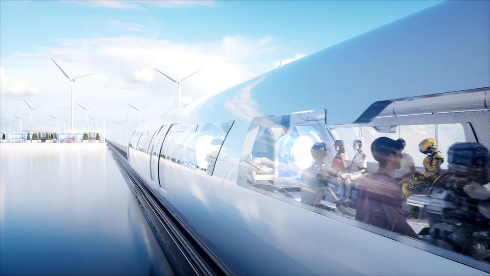 Futuristic monorail transport concept