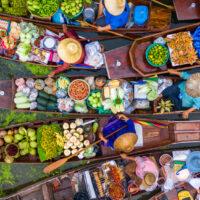 Aerial,View,Famous,Floating,Market,In,Thailand,,Damnoen,Saduak,Floating