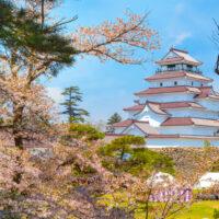 Aizuwakamatsu,Castle,And,Cherry,Blossom,In,Fukushima,,Japan